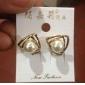 Fashion cute elegant female hollow triangle earrings pearl earrings E819