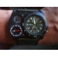 Men's Military Style Thermometer Compass Function Black PU Band Quartz Wrist Watch