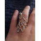 Korean Version Of The Retro Fashion Gorgeous Exquisite Luxury Crystal Diamond Ring Ring Hollow Leaves R220