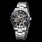 Мужская Скелет Круглый циферблат стальной лентой Auto-Mechainical наручные часы