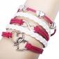 Women's Alloy Charms Infinity Love Double Heart Multi Strand leather bracelets