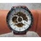 Da uomo Orologio da polso orologio meccanico Carica automatica Orologi con incisioni PU Banda Di lusso Marrone Marrone