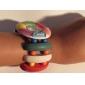 여자의 꽃 본 백색 목제 케이스 탄력있는 다채로운 악대 석영 팔찌 시계