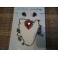 Women's  charming Heart-shaped red Crystal earrings