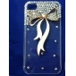 Fashion Rhinestones 3D Deluxe White Ribbon Design Transparent PC Hard Back Case for iPhone 4/4S