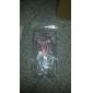 Pérola Bow Tie Padrão Transparente rígido Capa Caso com Cola para Samsung Galaxy i9500 S4
