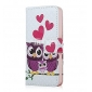 COCO FUN® Purple Owl Family Pattern PU Leather Full Body Case with Film, Stand and Stylus for iPhone 5/5S