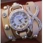 diamant rond des femmes composer PU bande de cuir amour bowknot pendentif quartz analogique montre la mode de la taille