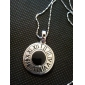 Korean Fashion Silver Hollow Round Pendant Necklace(Random Color)