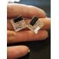 Boucles d'oreille goujon Imitation de diamant Alliage Elegant Argent-Noir Bijoux Quotidien