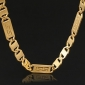 u7® высокое качество сбора винограда 18k золота заполнены цепи ожерелье коренастый Figaro для мужчин 5мм 22inches 55cm ювелирных изделий