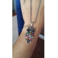 Gun Color Plated Colorful Owl Alloy Zircon Necklace