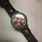Bandeira Reino Unido Unisex Vintage Bronze Caso PU banda quartzo analógico relógio de pulso (cores sortidas)