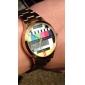 Unisex TV Pattern Gold Steel Quartz Analog Wrist Watch