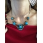 European Classic Bohemia (Blue Gem) Golden Alloy Statement Necklace (1 Pc)