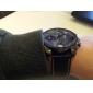Men'S Military Multi Function Leather Band Quatz Wrist Watch