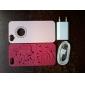 Funda Dura Rosa PC con Grabados de Flores y Corazones para iPhone 5/5S