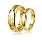 One Pair of Golden Stainless Steel Band Rings for Couples