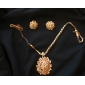 Z&X®  Gold Plated Wintersweet Inserted Red Zircon Earring and Pendant Jewelry Set