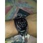 hommes couverture déchirée pu analogique montre-bracelet à quartz avec le squelette (noir)
