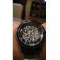 Men's Manual Mechanical Hollow Case Black PU Band Analog Wrist Watch (Assorted Colors)