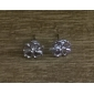 Earring Leaf Stud Earrings Jewelry Women Daily Alloy Silver