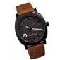Masculino Relógio Elegante Quartzo Impermeável Couro Banda Marrom Branco Preto