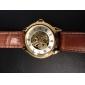 SHENHUA Hommes Montre Bracelet Montre mécanique Remontage automatique Gravure ajourée Cuir Bande Luxe Noir Marron Noir Marron