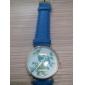 Women's Flower Pattern Golden Case PU Band Quartz Analog Wrist Watch (Blue) Cool Watches Unique Watches
