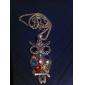 Colorful Owl Alloy Zircon Necklace