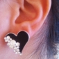 Stud Earrings Crystal Simulated Diamond Alloy Heart Heart White Black Jewelry Daily