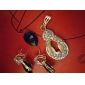 Z&X®  women's Black Love Heart Onyx Fully-Jewelled Jewelry Set(Earring and Pendant)