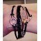 Femme Bracelets Bracelets Vintage Alliage Cuir Inspiration Ailes / Plume Blanc Noir Marron Or-Noir Bijoux