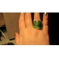 Gold Leaf Pattern Abstract Style Colored Glaze Ring
