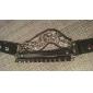 leather Charm Bracelets Punk 7.3cm Women's Assorted Color Leather Leather Bracelet(Black,White,Brown)(1 Pc)