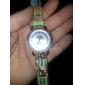 여자의 포도 수확 디아 망테 다각형 다이얼 직물 작풍 PU 밴드 석영 아날로그 손목 시계 (분류 된 색깔)