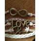 Femme Rivet Bracelets en cuir Basique Amour Cœur Multicouches Mode Fait à la main bijoux de fantaisie Cuir Forme de Coeur Amour Infini