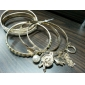 Lureme®Leather Pearl Heart Charm Stacking Bracelets 6 pcs/set