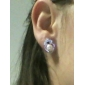 Lureme®Heart Pattern Rhinestone Earrings