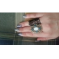 Vintage Alloy Zircon Oval Gem Pattern Ring(Assorted Colors)