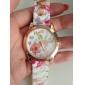 mode de montre de bande de silicone de modèle de fleur coloré des femmes