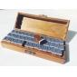 do vintage 26 letras& 10 números& 6 símbolos padrão madeira selos sinetes com caixa