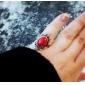 새로운 보석 여자 반지 2013 한국어 버전 - 세련된 분위기 데르 꽃 반지 (레드)