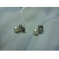 Women's Diamond Pearl Butterfly Love Earrings E109