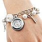 Women's Watch Alloy Bracelet With Imitation Pearls and Key Pendent