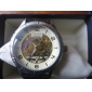 Men's Hollow Engraving Auto-Mechanical Dial PU Band Analog Wrist Watch (Assorted Colors)