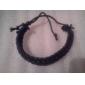 Men's Solid Color Cow Leather Cord Bracelet