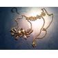 Two Birds flowers imitation diamond necklace (bronze) N313
