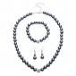 Hot Gray Pearl Crystal Diamond Ball Necklace Set