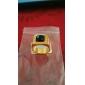 Homens Maxi anel Gema Preto Natural Amor Personalizado bijuterias Aço Inoxidável Acrílico Chapeado Dourado 18K ouro Quadrado Forma